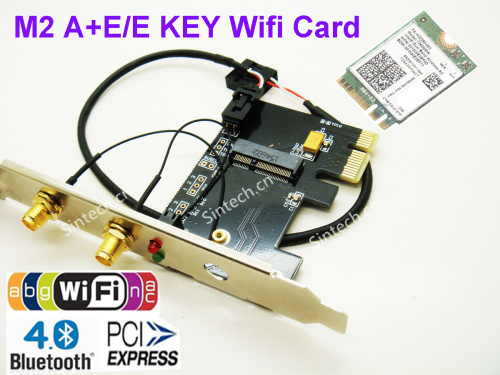 M.2(NGFF) A+E/E Key Wireless Card to PCIe 1x / USB Adapter